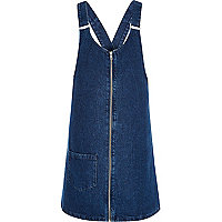 Dark blue denim pinafore dress