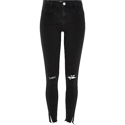 Molly – Schwarze Jeggings im Used-Look