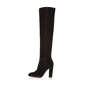 Black suede high leg heeled boots