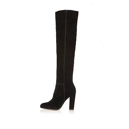 Black suede high leg heeled boots