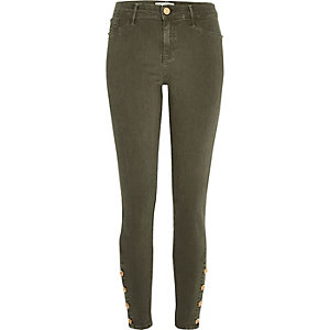 Khaki button hem Molly jeggings