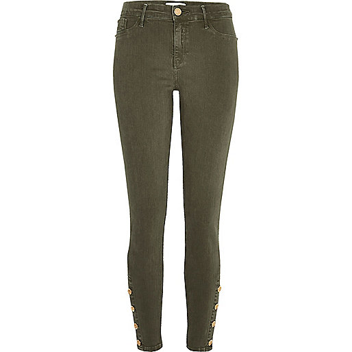 Molly – Jeggings in Khaki mit Knopfsaum
