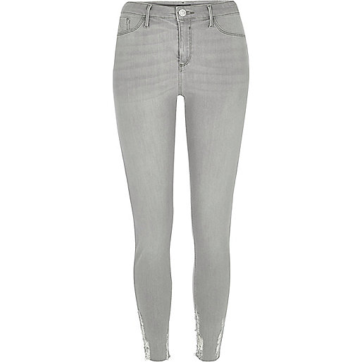 Molly – Graue Jeggings im Used Look