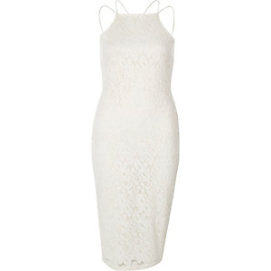 Cream lace cami bodycon dress