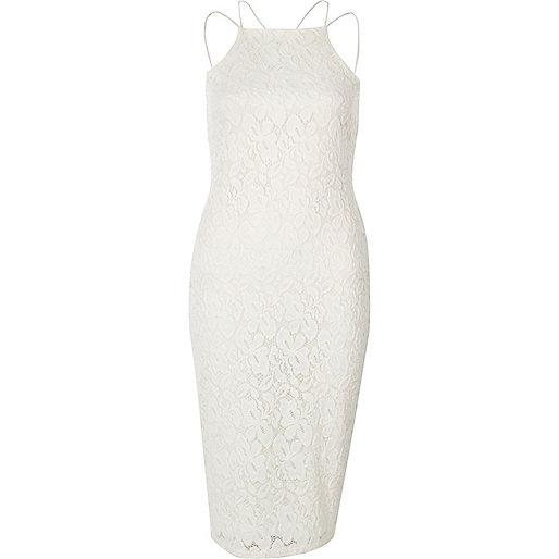 Cream lace cami bodycon dress
