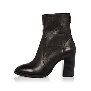 Black leather heeled ankle boots