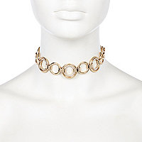 Gold tone glam circle link choker
