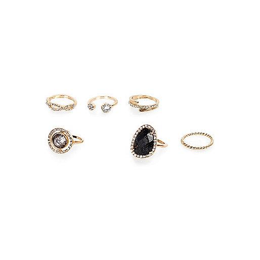 Gold tone gem encrusted rings pack