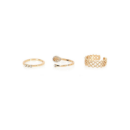 Gold tone stacking rings pack