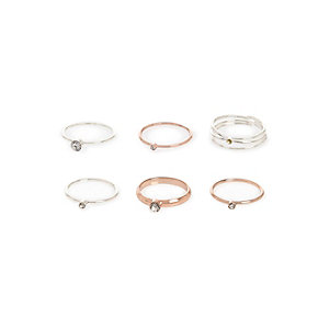 Rose gold and silver tone rings pack