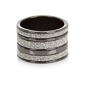 Gunmetal diamanté stacked ring
