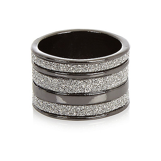 Gunmetal diamanté multi row ring
