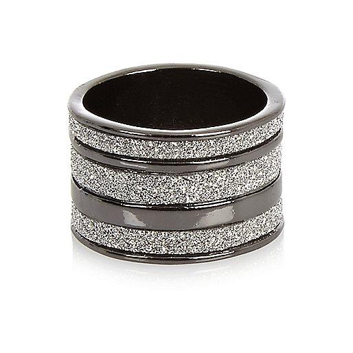 Gunmetal diamanté stacked ring