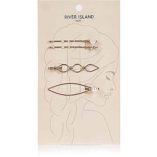 Gold tone embellished hair clip pack