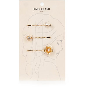 Gold tone floral hair clip pack