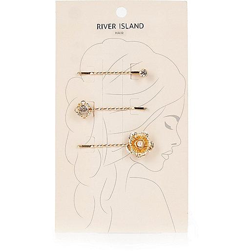 Gold tone floral hair clip pack