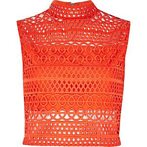 Crop Top mit Cornelli-Design in Orange