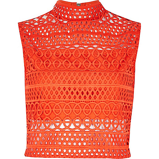 Orange cornelli crop top