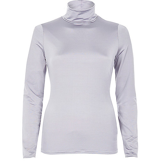 Grey silky roll neck top