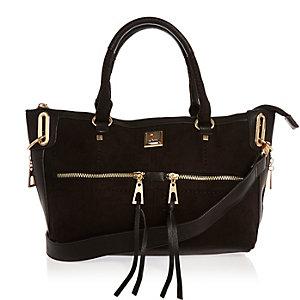 Black zip front tote handbag