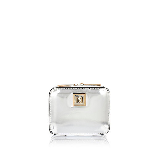 Silver compact jewelry case