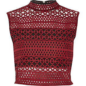 Dark red cornelli crop top