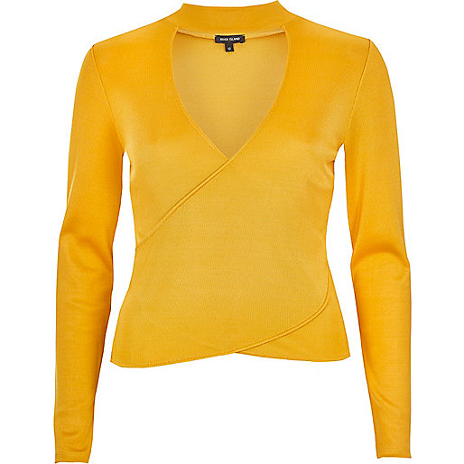 Dark yellow premium wrap top