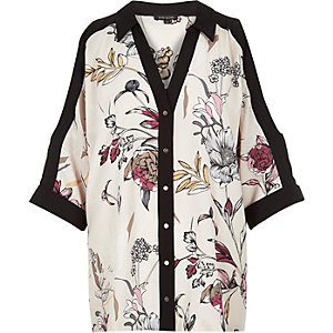 Cream print cold shoulder shirt
