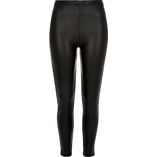Black coated high rise leggings