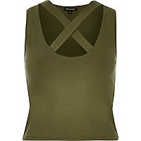 Khaki cross front crop top