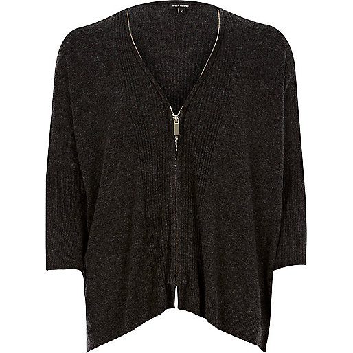 Grey zip through cardigan