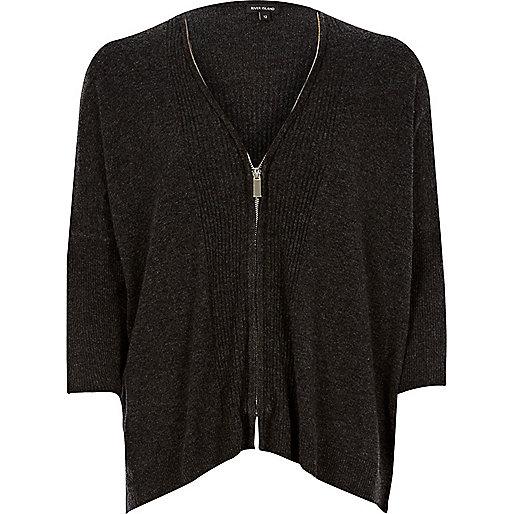 Cardigan zippé gris