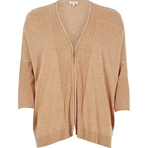 Brown zip through cardigan