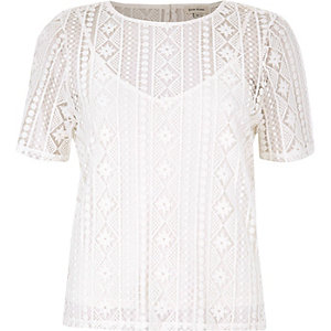 White embroidered lace top