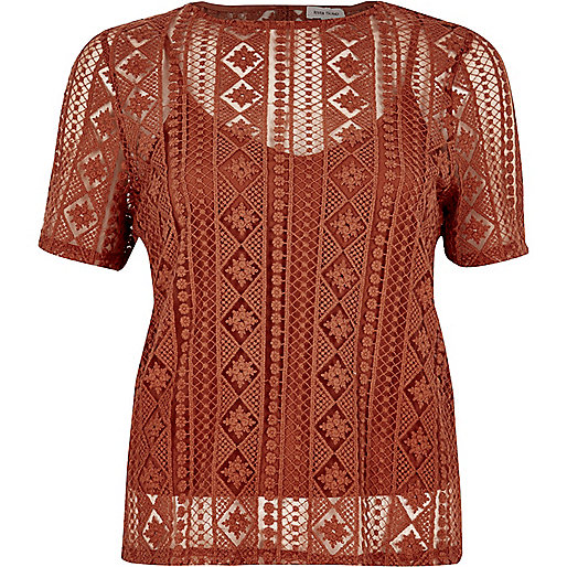 Dark orange embroidered lace top