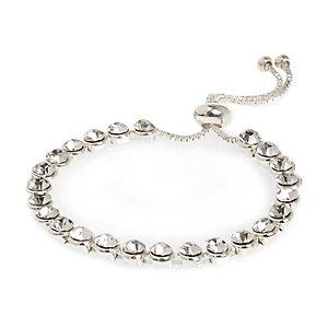 White silver tone crystal bracelet