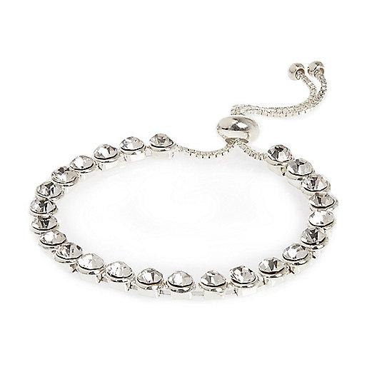 Bracelet orné de cristaux argenté et blanc