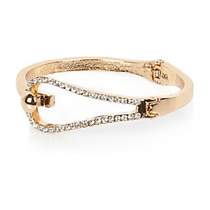 Gold tone diamanté loop bangle