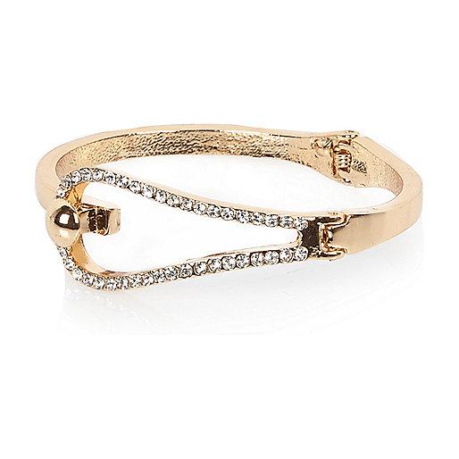 Bracelet jonc doré orné de strass