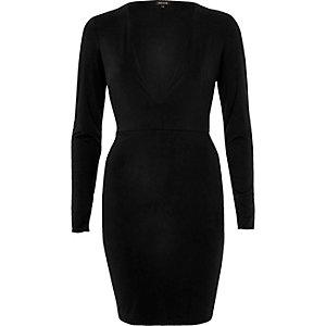 Black plunge neck dress