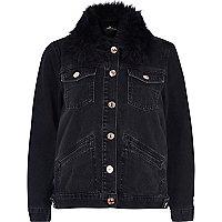 Black denim jacket with faux fur collar