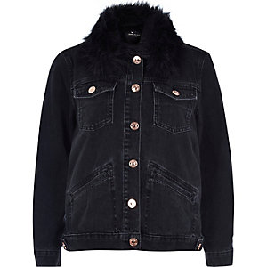 Black denim jacket with faux fur collar