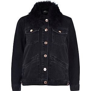 Veste noir en jean avec col en fausse fourrure