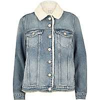 Light blue wash fleece lined denim jacket