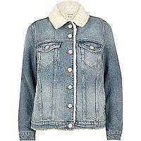 Veste en jean délavage bleu clair avec doublure imitation mouton