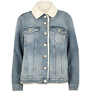 Light blue wash borg lined denim jacket