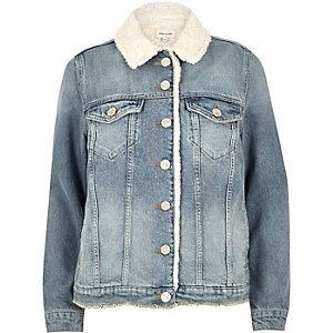Light blue wash fleece lined denim jacket