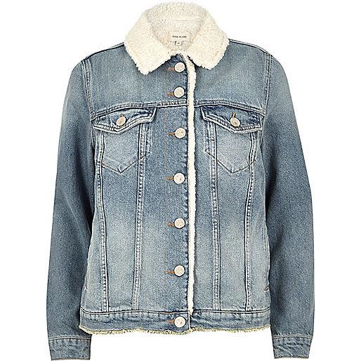Light blue wash borg lined denim jacket