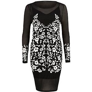 Schwarzes Bodycon-Kleid mit Stickerei