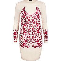 Hellrosa Bodycon-Kleid mit Stickerei